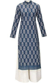 Blue floral block printed kurta with white cotton pants available only at Pernia's Pop-Up Shop.: