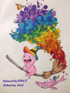 From Zifflins Doodle Invasion Done In Felt Pens And Marco Raffine Pencils ColoringAdult ColoringColouringColoring BooksDoodle