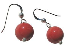 15 OFF  Sterling Silver Dyed Coral Drop by BlueBreezeJewelry, $13.99