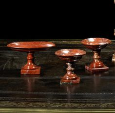 A set of three Russian early 19th century red jasper tazzas (3)