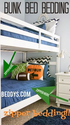Boys navy blue bunk bed bedding. Zippers make it easy to make the bed...no more tucking!