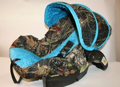 Hunters CAMO infant car seat cover with Blue minky- Custom Order by Baby Seat Covers By Jill - always comes with free strap covers