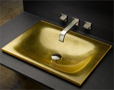 Matte Gilded Finish on New Rectangular Basin by Vitraform on HomePortfolio