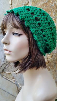 hand crochet Tam rasta beanie Hat chic slouch kelly by annmag Irish Hat e3d3c2e92dcf