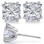 Cushion Cut Charles & Colvard Moissanite 8 prong Stud EarringsMoissanite Jewelry, Rings in 14k Gold
