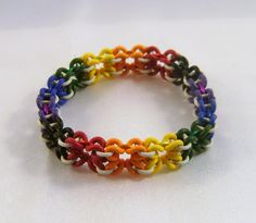 Items similar to Rainbow Stretchy Butterfly Pattern Chainmaille Bracelet on Etsy Jewelry Making Classes, Wire Jewelry Making, Diy Jewelry, Beaded Jewelry, Handmade Jewelry, Jewelry Design, Chain Jewelry, Unique Jewelry, Jewelry Ideas