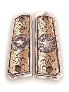 Hand Engraving, Custom Engraving, Texas Rangers Law Enforcement, Engraved 1911, Custom 1911 Grips, Walker Texas Rangers, Colt 1911, Custom Guns, Rigs