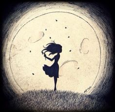 Silhouette of girl with flower & moon art