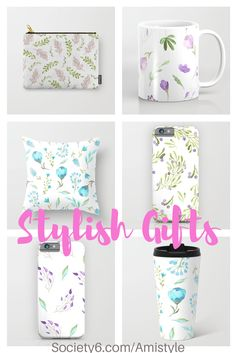 Stylish gift ideas - pillows, mugs, phone cases, pouches and much more in beautiful watercolor floral design - By Amistyle on Society6