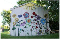 Garden Fence Art, Garden Mural, Garden Yard Ideas, Backyard Fences, Garden Projects, Mural Painting, Mural Art, Wall Murals, Fence Painting