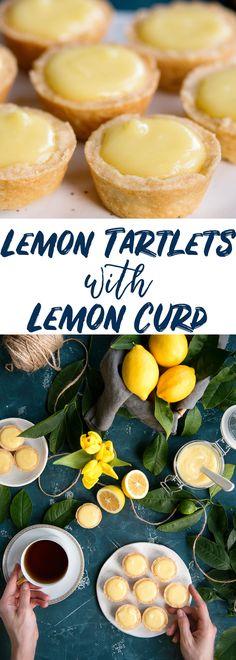 Meyer Lemon Tartlets with Lemon Curd #Recipe for Bite Sized Desserts #MeyerLemon via @sideofsweet