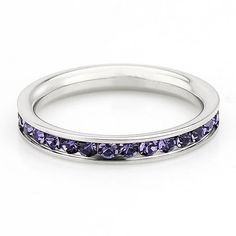 Buy Amethyst Gemstone Full Eternity ring - stacking ring - wedding band in white gold or titanium by thealaddinscave. Explore more products on http://thealaddinscave.etsy.com