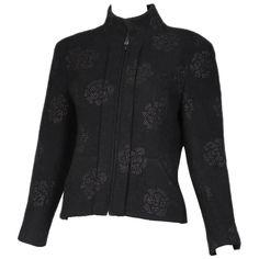 6e74a4d7b5a 2003 Chanel Black Wool Boucle Jacket W camellia Print. 1stdibs.com