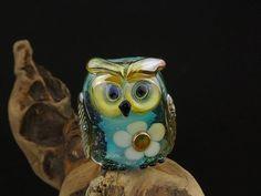 Oliver.... lampwork owl bead... sra by DeniseAnnette on Etsy, $24.00