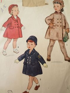 Vintage Simplicity 3727 Sewing Pattern, Childs Coat Pattern, 1950s Coat Pattern, Child Hat Pattern, Double Breasted Coat, Chest 20 In.: