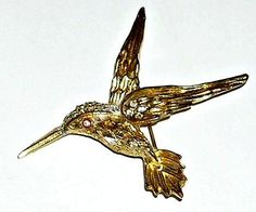 Vintage Hummingbird Brooch Gold Plated Crystal Rhinestone.