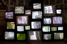 For a retro vibe, one corner of the Fader Fort held an installation of old TV sets displaying a live feed from cameras placed beside it. Photo: Nadia Chaudhury/BizBash