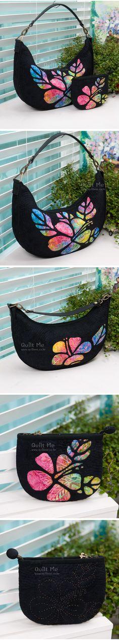 What a gorgeous bag! Amérique Quilt - Black Hawaiian Sac & l'ensemble de poche (Motif)