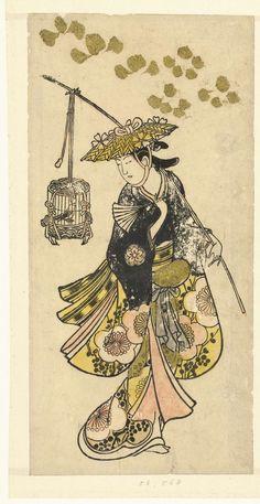 Jonge vrouw met vogelkooi, Okumura Toshinobu, 1720 - 1730