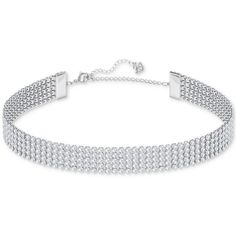 Swarovski Silver-Tone Crystal Choker Necklace ($149) ❤ liked on Polyvore featuring jewelry, necklaces, accessories, choker, silver, crystal necklace, swarovski jewelry, silvertone jewelry, polish jewelry and crystal jewelry