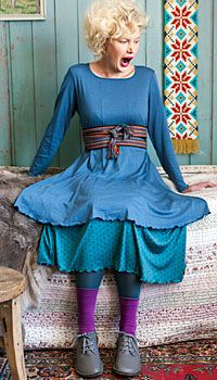 Gudrun Sjoden - love the layers. This combo, with the wide woven belt and the layers with leggings, reminds me of the eighties. Not all of us dressed like Madonna.