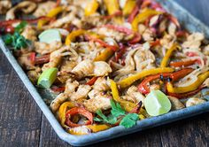 <p>Make dinner for a crowd with these easy sheet pan fajitas! Your oven's broiler adds just the right amount of char for that authentic fajitas taste. </p> <p>It seems like no matter what time of year it is, my family has an excuse to get together and eat. As much as I love preparing extravagant meals, sometimes a quick and easy recipe is all I can manage to pull off. </p> <p>These fajitas got rave reviews from everyone in the family, and gave me more time to spend with my guests! </p>...