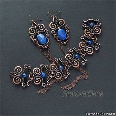 Strukova Elena - copyrights Jewelry - copper + lapis lazuli