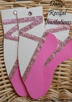 Bear Rabbit Bear Crafts: {Girly} Dance Recital Invitations- No Criut Required