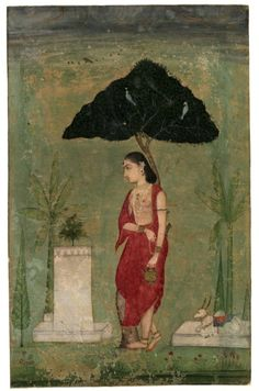 Devotion to the tulsi plant, sweet basil; A lady ascetic.   1800s, Rajasthan.