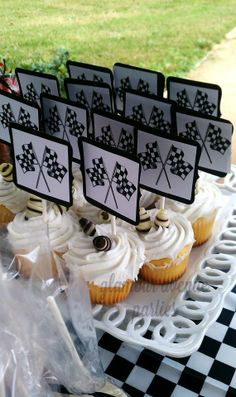 Decorate your cupcakes with checkered flag toppers for an award-winning dessert!