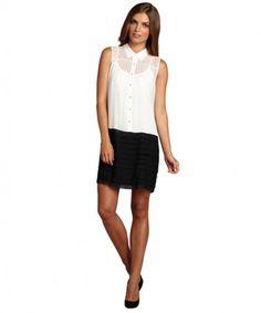 Ali Ro white and black silk chiffon tiered party dress on WearsPress