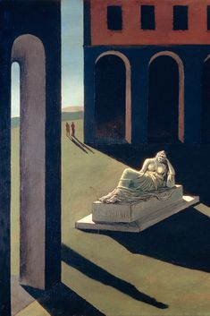 """""""Melanconia,"""" the 1912 De Chirico painting that inspired the palazzo's architects."""