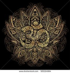 Hand drawn gold on black ornate vector ornamental Lotus Tattoo, ith Om, as a spiritual symbol of India, ethnic art. Spiritualism, magical symbols for astrology and alchemy in boho style - buy this stock vector on Shutterstock & find other images. Lotus Tattoo, Mandala Tattoo, Mandala Art, Lotus Mandala, Geometric Tattoo Stencil, Om Art, Eagle Wallpaper, Spiritual Symbols, Japanese Tattoo Art