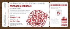 The Big Eight-Oh Boarding Pass Invitation