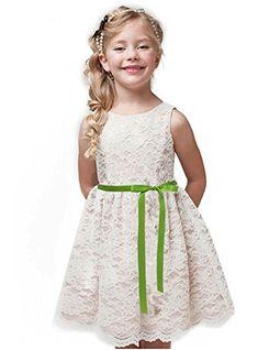 62426715b0de7 Shop Ginger Wedding Ivory Flower Girl Dress Lace Bow Sash #springwedding  #flowergirl #flowergirldress