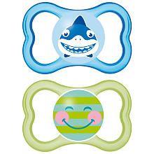 MAM BPA Free 6+ Months 2 Pack Air Pacifier  Shark/Smile