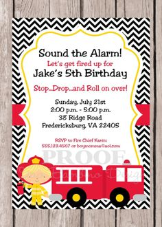 PRINTABLE, Personalized Firetruck and Firefighter Birthday Party Invitation with Chevron, Choose Your Favorite Firefighter