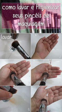 Como lavar seus pincéis de maquiagem Link pro post; http://blahblog.com.br/como-higienizar-e-lavar-seus-pinceis-de-maquiagem/