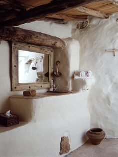 bathroom, adobe <3 nothing like rustic simple natural organic elements in a home:)  you breath you live....