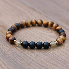 Men's Tiger's Eye Healing Fertility Chakra Bracelet with Tiger's Eye, Rutilated Quartz and Matte Black Coral.
