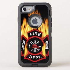 Fire Department Flaming Badge OtterBox Defender iPhone 8/7 Case  my daddy is a firefighter, firefighter decal, firefighter hat #firechief #firefighterinthemaking #futuredoctor Firefighter Decals, Firefighter Gear, Apple Iphone, Iphone Se, Synthetic Rubber, Apple Logo, Fire Department, Badges, Protective Cases