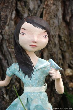 Girl with Pet Bluebird - paper mache doll.