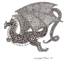 Celtic Dragon by Marty Dave Coffey Colouring Pages, Adult Coloring Pages, Coloring Books, Celtic Symbols, Celtic Art, Celtic Knots, Celtic Patterns, Celtic Designs, Vikings