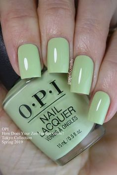 How Does Your Zen Garden Grow? OPI Tokyo Collection Spring 2019 (green, with envy) Opi Nails, Nail Manicure, Cute Nails, Pretty Nails, Green Nail Polish, Green Nails, Blush Pink Nails, Opi Nail Colors, Nail Polish Collection