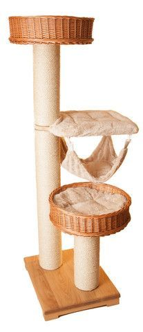 This tall cat activity tree with hammock is specially designed for those who love heights. A great pole for up to four fully grown cats. The only problem you will have is who gets the top cat bed!