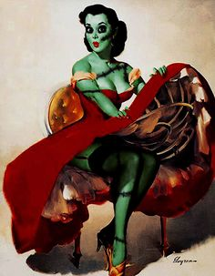 Zombie Pinup Girl --- I'm sure whoever the artist is, really loves the original Gil Elvgren pinups. I'd like to imagine this is more loving satire than evil defacement of the master's work.