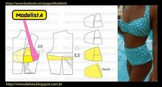 Pattern for bikini Underwear Pattern, Lingerie Patterns, Sewing Lingerie, Jolie Lingerie, Clothing Patterns, Sewing Hacks, Sewing Tutorials, Bikinis Crochet, Swimsuit Pattern