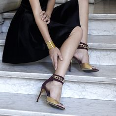 Burgundy and gold snake leather sandal_JustENE