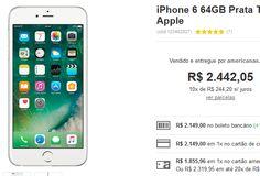 "iPhone 6 64GB Prata Tela 4.7"" iOS 8 4G Câmera 8MP << R$ 185596 >>"