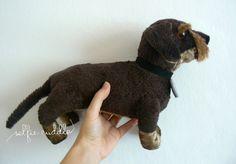 Wirehaired dachshund dog, handmade fabric soft toy